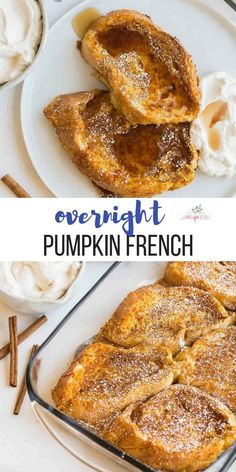 This Is The Fall Breakfast You Need This Overnight Pumpkin French Toast Is So Easy - You Can Make Ahead For Holiday Gatherings And Brunches Pumpkin Recipes Thanksgiving Brunch Thanksgiving Recipes Holiday Brunch Make Ahead Breakfast Overnight French Toast Banana Bread French Toast, Challah French Toast, Pumpkin French Toast, Cinnamon French Toast, French Toast Bake, French Toast Casserole, Baked Pumpkin, Pumpkin Recipes, Healthy Pumpkin