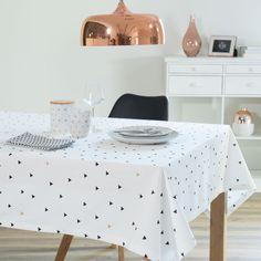 Nappe motif triangles en coton blanche 150 x 250 cm