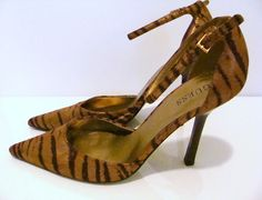 These tiger print Guess heels sold on www.shopacrewd.com #guess #tiger