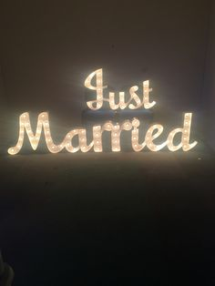Light up letters just married available to buy from www.madeffects.com