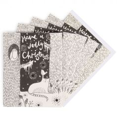 Cats and robin Christmas cards - pack of 6