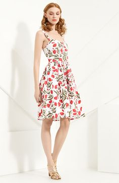 """Spring/Summer 2012 Oscar de la Renta Poppy Print Stretch Cotton dress in Rose. very 1940's-my-boyfriend-just-got-home-from-the-war-and-i'm-in-love type dress. i love it. the official description says, """"A gathered sweetheart neck tops the flattering fit-and-flare shape of a lovely dress patterned with a fresh floral print."""" $890"""
