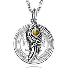 Archangel Gabriel Sigil Amulet Magic Powers Angel Wing Charm Tiger Eye Pendant 22 Inch Necklace *** Read more reviews of the product by visiting the link on the image.