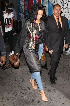 Rihanna wearing Manolo Blahnik Chaos Sandal in Tan, Citizens of Humanity Premium Vintage Racer Distressed Skinny Jeans in Crosby, Louis Vuitton Damier Ebene Alma BB Bag and Dries Van Noten Rolu Belted Floral Brocade Coat.
