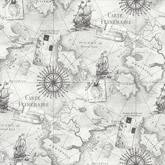 Arthouse Navigator VIP Cartography Vintage Nautical Map Wallpaper 622004