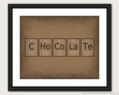 Periodic Table Word Poster  Chocolate  Wall Art by GetYourNerdOn, $20.00