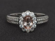 morganite ring silver pink gemstone ring by XCjewelryStudio