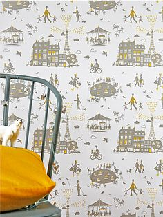 Grey with yellow point wallpaper