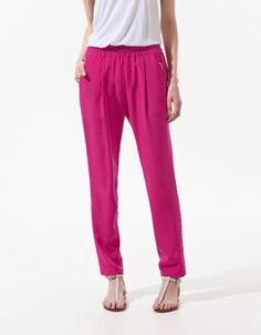 TROUSERS WITH POCKET AND ZIPS - Trousers - Woman - ZARA United States $49.90
