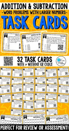 Grab these 32 Addition and Subtraction Task Cards: Word Problems (with larger numbers) which include adding and subtracting 3,4,5, and 6 digit whole numbers to help your students review addition and subtraction skills. Perfect for review, Scoot game, math center, assessment tool, or test prep!