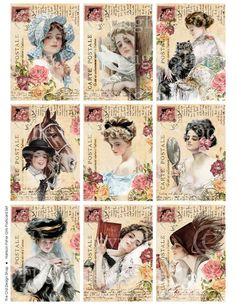 Vintage Illustrations Harrison Fisher Girls Altered Art Postcard Set ATC ACEO size Collage Sheet Digital Download. $3.50, via Etsy.