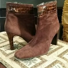 Brown Boots by Sergio Zelcer Brown suede with faux alligator on the tops and heels. Still in beautiful condition. Tiny scuff on one heel. Not noticeable. Boots zip on the inside. Sergio Zelcer Shoes