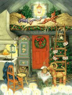 gnomes ' modern Rare new postcard by Inge Look Swedish Christmas, Noel Christmas, Scandinavian Christmas, Vintage Christmas Cards, Christmas Illustration, Children's Book Illustration, Graffiti Kunst, Theme Noel, Yule