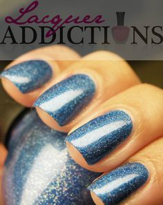 """Nicole's """"Me + Blue"""". Lacquer Addictions nail blog."""