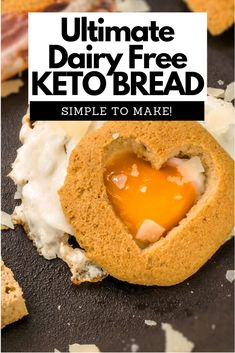 This is our absolute favorite cheese-free keto bread recipe. It is SIMPLE to make fool-proof and NOT eggy at all! Goes well with sweet and savoury foods. This is our absolute favorite cheese-free keto bread recipe. It is SIMPLE to make fool-proof and NOT Low Carb Bread, Keto Bread, Low Carb Keto, Keto Friendly Desserts, Low Carb Desserts, Low Carb Recipes, Paleo Recipes, Cheesecake Recipes, Dessert Recipes