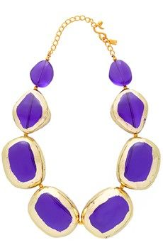 KENNETH JAY LANE Purple Gold Scraped Stones Necklace - ACCESSORIES | JEWELRY | Necklaces | PRET-A-BEAUTE.COM