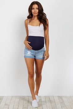 9a828a598dc3b Navy Blue Ripped Knee Raw Cut Maternity Jeans | Maternity ...