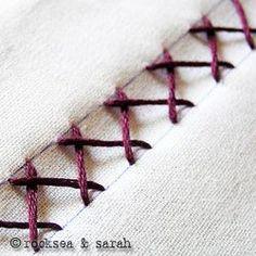 herringbone stitch    also known as: Mossoul stitch, Plaited stitch, Catch stitch, Witch stitch