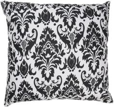 Rizzy Home T-2625 Decorative Pillows, 18 by 18-Inch, White/Black, Set of 2