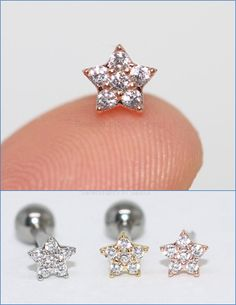 Dainty and tiny CZ pave cartilage piercing in silver, gold and rose gold! Best for tragus, helix, conch piercings! Tragus Piercings, Septum Ring, Cartilage Stud, Cute Ear Piercings, Cluster, Tiny Star, Ear Studs, Pearl Earrings, Rose Gold