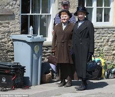 The Bates' Legal Team... Hughes and Patmore, village scenes series final filming, June 2015..