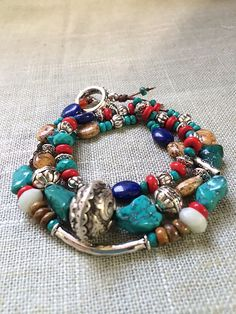 Faceted & Nugget Turquoise Wrap Bracelet with Red Coral aquamarine, lapis, jasper, & silver. Perfect Holiday gift. Natural Gemstone Wrap Bracelet.