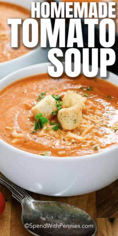This Fresh Tomato Soup really is the best tomato soup recipe I have encountered! So easy and prepared in under and hour, it's the perfect weeknight meal or quick lunch! #spendwithpennies #easyrecipe #freshrecipe #easysoup #easylunch #easydinner #freshtomatoes #roastedreceipe #healthyrecipe #bestsoup Best Tomato Soup, Cream Of Tomato Soup, Roasted Tomato Soup, Easy Tomato Soup Recipe, Tomato Bisque Soup, Tomato Tomato, Easy Soup Recipes, Beef Recipes, Cooking Recipes