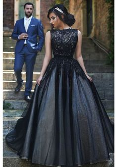 Elegant Round Neck Black Lace Long Prom Ball Gown Evening Dresses(ED0878)