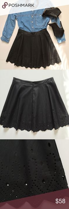 """Laser Cut Faux Leather A-line Skirt Edgy laser cut details and scallop edges faux leather A-line skirt. Pair this fun skirt with a denim top, chain link statement necklace and peep toe booties and you're set. Add a blush top for a feminine look.  18"""" long, fully lined (15""""). 100% PU, lining 100% poly. NWT. Slight indentations on the waistband from the hanger. (Pic #4) This is a size M, best fit 4-6. Astr Skirts A-Line or Full"""