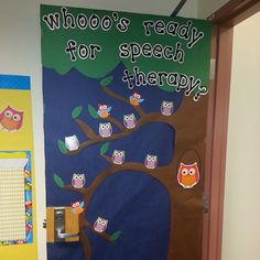 """""""whooo's ready for speech therapy?' - Submitted by michelefell85 on Instagram - Visit the @PediaStaff """"MyTherapyRoom Share"""" Board on Pinterest to see more contributions"""