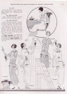 1924 fashions for hand embroidery.  Ready made Tea Aprons and Ladies' Breakfast Dresses for hand embroidery.