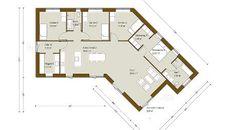 Knækhus 159 m² - få inspiration til spændende nyt hus - Danhaus Bungalow, Villa, Floor Plans, Flooring, How To Plan, Architecture, Inspiration, Ideas, Biblical Inspiration