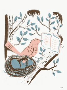"""""""Bird Reader"""" print by Chris Silas Neal 