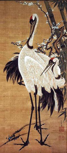 Cranes with Bamboo. 竹梅双鶴図 [ちくばい そうかくず] Japanese hanging scroll. by Ito Jakuchu. Eighteenth century