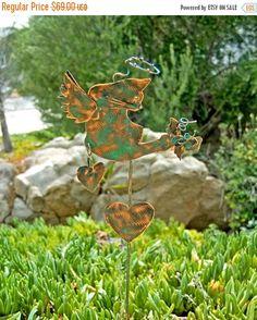 SALE Cat Memorial Garden Art Stake, Metal Yard Art, Copper Pet Memorial, Grave Marker, Memorial Garden Marker, Cat Sculpture, Angel Kitty