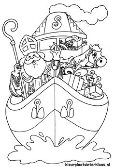 Kleurplaat - Sinterklaas travels from his home in Spain to the Netherlands sometime in November. He travels in a boat full of gifts, along with his gray horse and his helpers. Shark Coloring Pages, Colouring Pages, Free Coloring, Adult Coloring Pages, Coloring Books, St Nicholas Day, Hello Kitty Halloween, Marvel Coloring, Scrapbook Paper Crafts