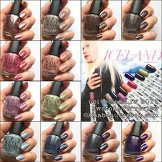 OPI Iceland Collection 2017 ©Beautygeeks Composite - I like a LOT of these. unusual for me! Gel Polish Colors, Opi Nail Polish, Fall Nail Colors, Opi Nails, Gel Color, Sns Colors, Nail Polishes, Shellac, Colours