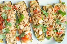 Grilled Zucchini Stuffed with Caprese Salad and Orzo