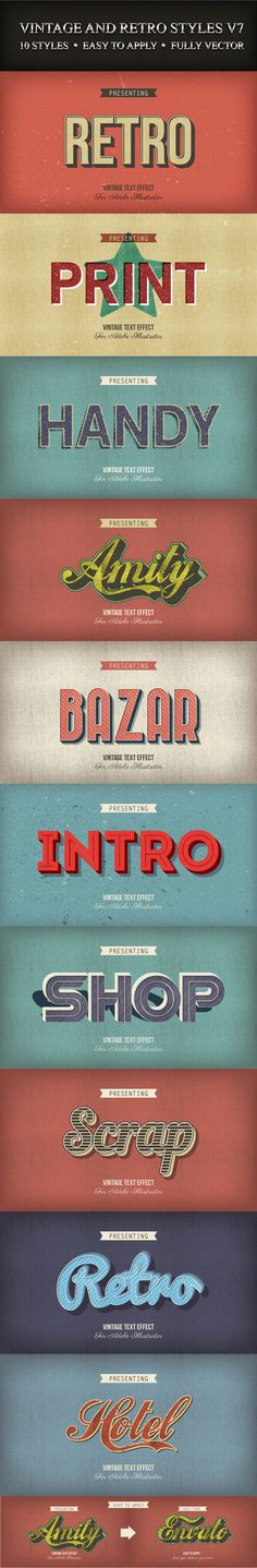 Buy Vintage and Retro Styles by Minhaj on GraphicRiver. This is a pack of 10 different vintage and retro graphic style for Adobe Illustrator. You can apply these styles to y. Logos Retro, Retro Typography, Graphic Design Typography, Lettering Design, Graphic Design Tools, Retro Design, Tool Design, Graphic Design Inspiration, Design Art