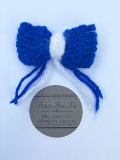 Betsy's Bow Ties Medium Royal Blue and White with Blue and White Ribbons