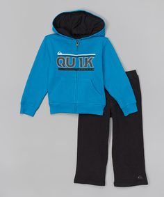Loving this Blue & Black Zip-Up Hoodie & Pants - Infant & Toddler on #zulily! #zulilyfinds