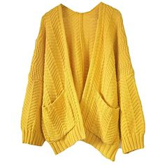 e18537ebda ROMWE Open Front Ribbed Cardigan Women Yellow Autumn Long Sleeve Sweater  Loose Jumper 17 Winter Pockets Casual Brief Cardigan