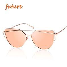 2016 새로운 고양이 눈 선글라스 여성 빈티지 패션 로즈 골드 미러 태양 안경 독특한 평면 여성 선글라스 Oculos UV400