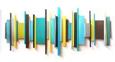 modern geometric abstract painted wood wall by artbyRosemary
