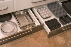 Toe Kick Drawer for extra storage. You can even use a toe kick drawer in a bathroom as a small step so that children can reach the sink! Kitchen Cupboard Storage, Kitchen Pantry, Kitchen Organization, New Kitchen, Kitchen Decor, Kitchen Drawers, Kitchen Cabinets, Hidden Kitchen, Wall Cabinets