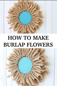 Make these cute burlap flowers for your wall or to hang on your door burlap flowers easycrafts # Diy Crafts For Adults, Diy Home Crafts, Easy Diy Crafts, Diy Crafts Videos, Diy Crafts To Sell, Burlap Crafts, Wreath Crafts, Fabric Crafts, Burlap Projects