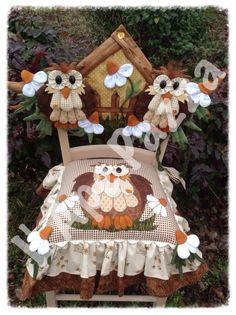 Cartamodelli gufi primavera 2014 : Cartamodello cuscino e spalliera con gufi e casetta