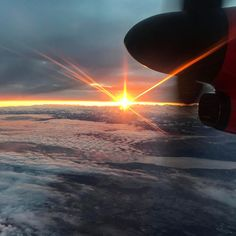 Rising sun from the air.