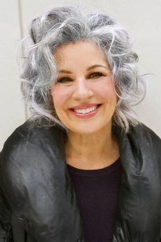 """The secret to beautiful gray hair lies in its texture. Combine curly gray hair with a smooth texture and the way light reflects in the silver strands is attractive and incredibly avant-garde. Grey Curly Hair, Long Gray Hair, Silver Grey Hair, Curly Hair Styles, White Hair, Lilac Hair, Emo Hair, Pastel Hair, Green Hair"