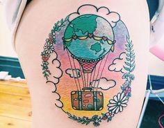 Travel Tattoo by Lauren Winzer #travelinspiredtattoo #wanderlust